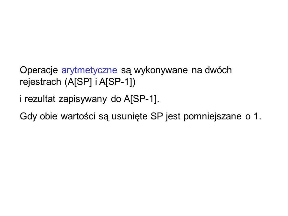 Operacje arytmetyczne są wykonywane na dwóch rejestrach (A[SP] i A[SP-1])